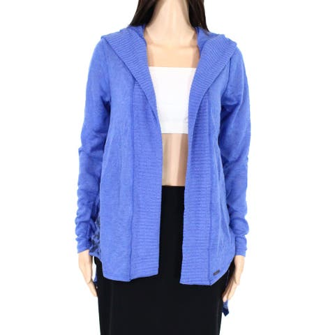 prAna Womens Sweater Blue Small S Ribbed Knit Floral Hooded Cardigan