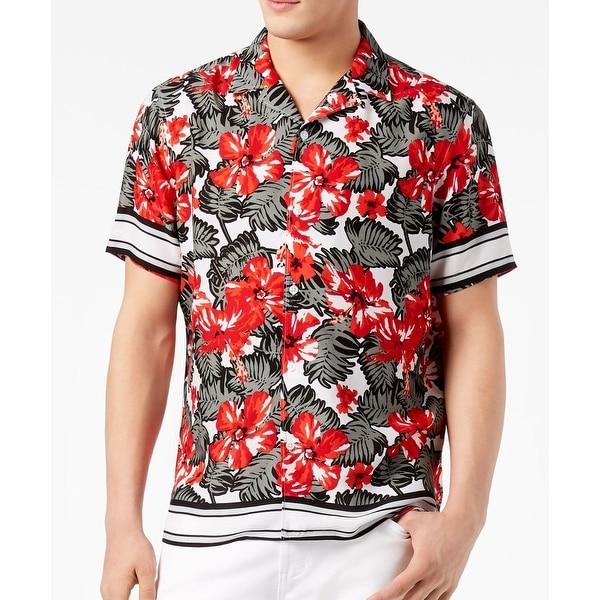8003ae2a Shop INC Red Mens Size XL Tropical Print Button Down Short-Sleeve ...