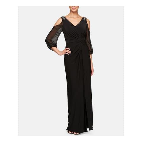 ALEX EVENINGS Black 3/4 Sleeve Full-Length Sheath Dress Size 14