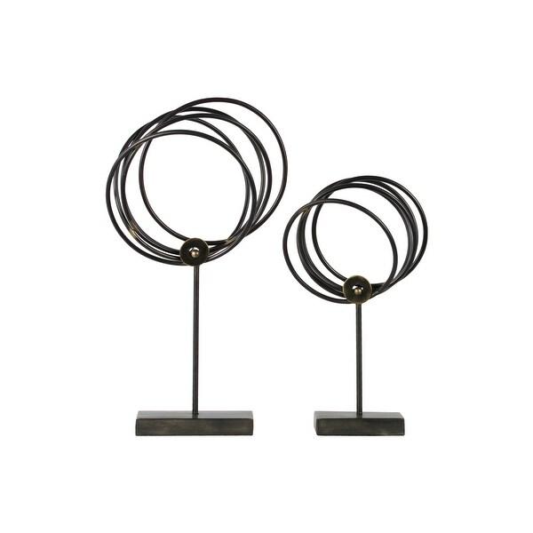 Metal Batch of Circles Tabletop Sculpture On Base, Set of 2, Gunmetal Gray