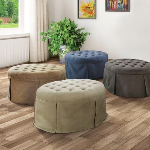 Furniture of America Civa Transitional Fabric Tufted Cocktail Ottoman