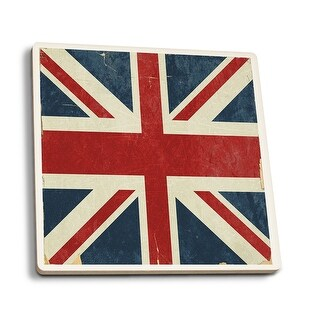 Union Jack - Distressed Letterpress - LP Artwork (Set of 4 Ceramic Coasters)