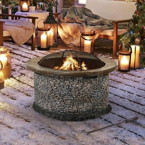 Sunjoy Stone 32-inch Lightweight Round Wood Burning Firepit