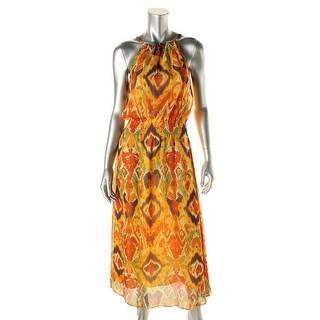 Lauren Ralph Lauren Womens Petites Chiffon Halter Maxi Dress