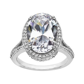 Ring with 5 ct Cubic Zirconia in Sterling Silver - White