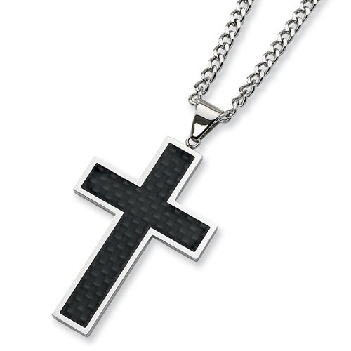 Chisel Black Carbon Fiber and Polished Stainless Steel Cross Necklace on 24 Inch Chain (4 mm) - 24 in