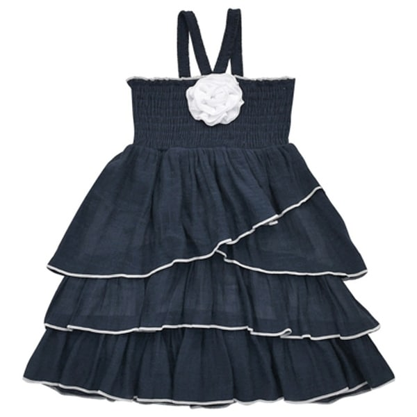 367eb7f99230a Shop Lele Little Girls Navy White Rosette Attached Smocked Top Ruffle Dress  - Free Shipping On Orders Over $45 - Overstock - 18171783