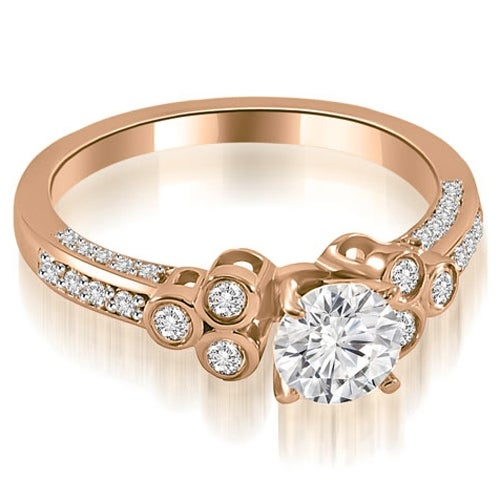 0.92 cttw. 14K Rose Gold Round Cut Diamond Engagement Ring