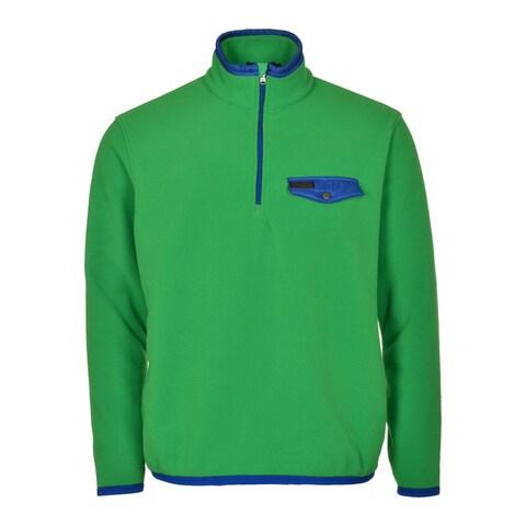 POLO RALPH LAUREN Fleece Sweatshirt Medium M Lime Green and Blue 1/2 Zip $145