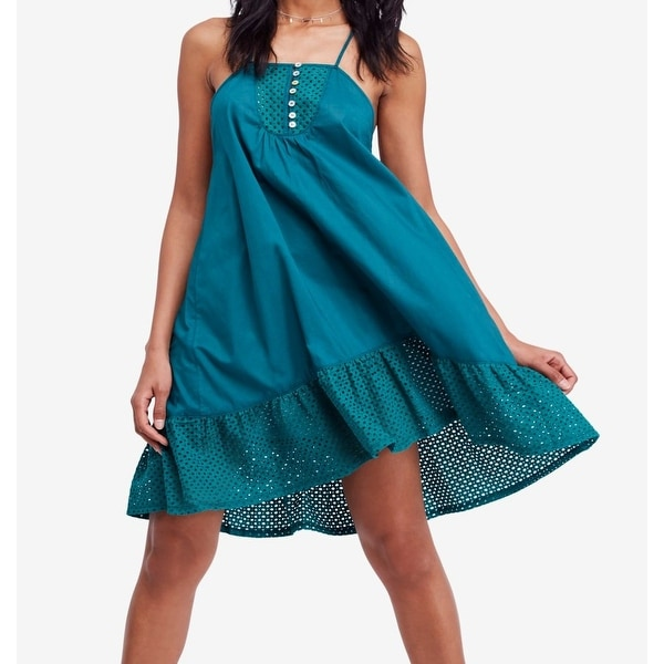 4b6c426bf7e78 Free People Green Calico Women's Size Small S Trapeze Eyelet Dress