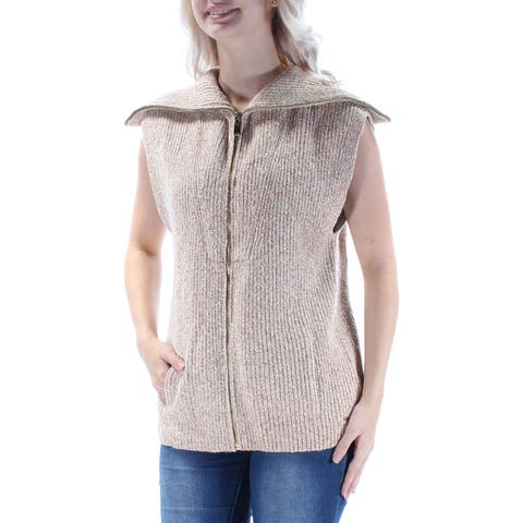 TOMMY HILFIGER Womens Beige Textured Pocketed Sleeveless Zip Neck Vest Sweater Size: S