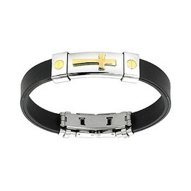 Stainless Steel Gold Plated Cross ID Plate Rubber Bracelet (10 mm) - 7.25 in