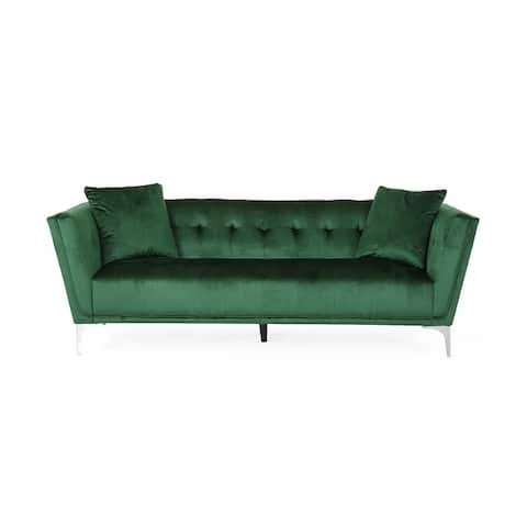 Chopline Modern Glam 3 Seater Velvet Sofa by Christopher Knight Home