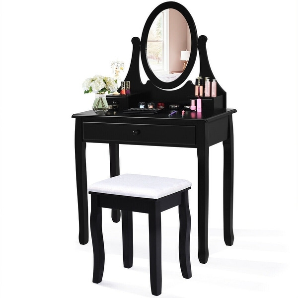 Black Vanity Set - Ship from The U.S. 1 Cushioned Stool for Bedroom, 1 Sliding Drawers Vanity Makeup Table set with Lighted Mirror 12 Cool LED Bulbs Dresseing Desk Dresser with Mirror and Bench