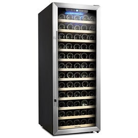 Kalamera Wine Cooler 80 Bottle Glass Door Wine Refrigerator Single Zone with Digital Temperature Display