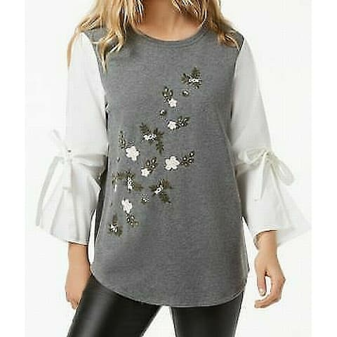 Kensie White Ivory Womens Small S Embroidered Puff Sleeve Blouse
