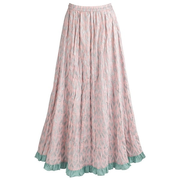"Women's Dusty Pink Ikat Broomskirt - Elastic Waistband - 38"" Long Maxi Skirt"