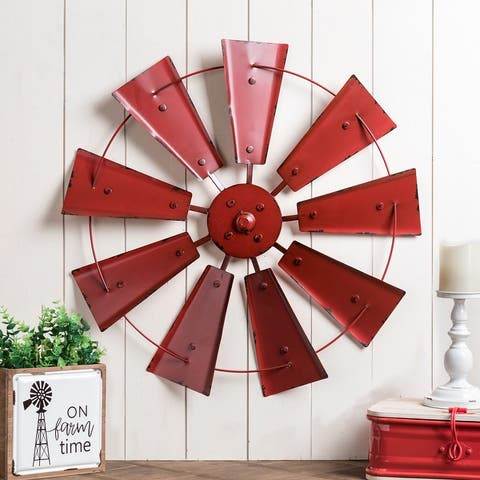 """22""""D Vintage Farmhouse Metal Wind Spinner Wall Decor by Glitzhome"""