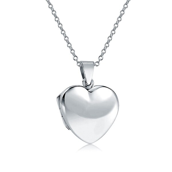 564e89e81e5 Basic High Polish Heart Shape Locket Pendant Engravable 925 Sterling Silver  Necklace For Women 18 Inches