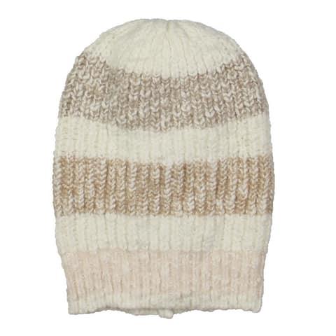 Free People Womens Cozy In Stripes Beanie Hat Knit Winter - Sugar - O/S
