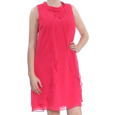 SLNY Womens Pink Sleeveless Jewel Neck Shift Dress Size: 8