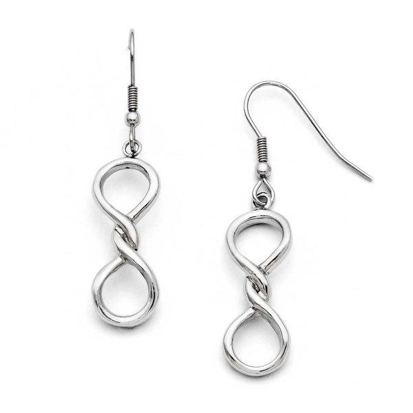 Chisel Stainless Steel Polished Infinity Symbol Shepherd Hook Earrings