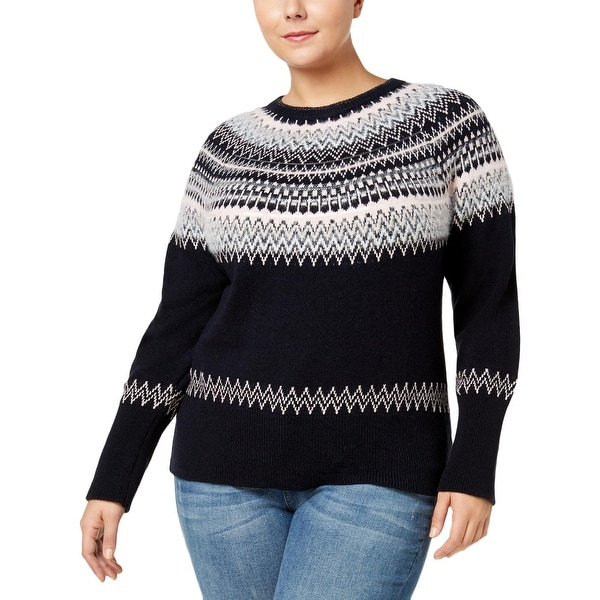07da5447b Shop Tommy Hilfiger Womens Plus Pullover Sweater Fair Isle Sequined ...