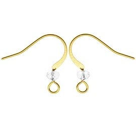 Gold Plated Earring Hooks With Crystal - Clear Glass Crystal (10)