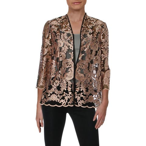 Alex Evenings Womens Collarless Blazer Lace Satin Trim