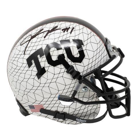 Jalen Reagor Signed Mini White TCU Horned Frogs Schutt Helmet BAS ITP