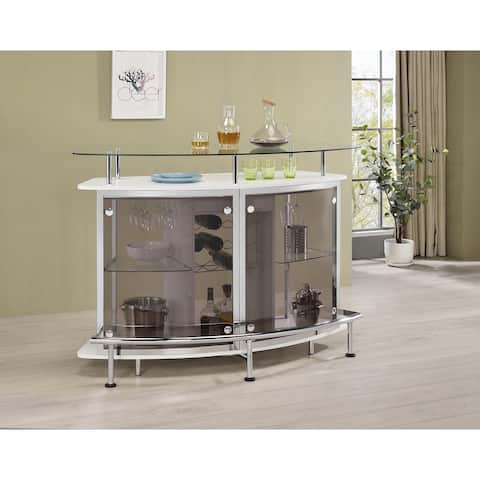 Crescent Shaped Glass Top Bar Unit with Drawer