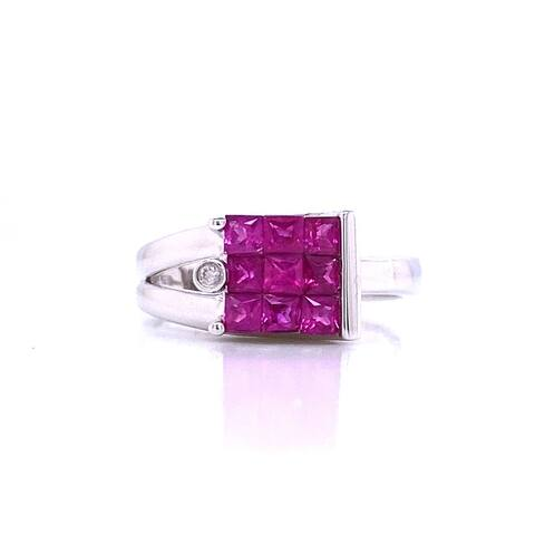 Kabella Ruby & Diamond Geometric Ring