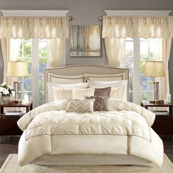 Madison Park Essentials Loretta Ivory 24 Piece Room in a Bag - Window Panels and Sheet Set Included