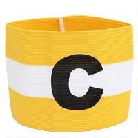 Yellow White Stripe Design Stretchy Match Team Soccer Captains Arm Band Armband