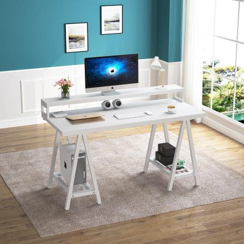 55 inches White Computer Desk with Storage Shelves, Modern Office Writing Desk Study Table with Monitor Stand Riser