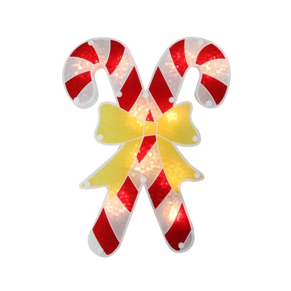 """12"""" Lighted Holographic Candy Cane Christmas Window Silhouette - RED"""