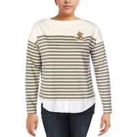 Lauren Ralph Lauren Womens Pullover Sweater Striped Logo