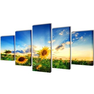 "vidaXL Canvas Wall Print Set Sunflower 79"" x 39"""