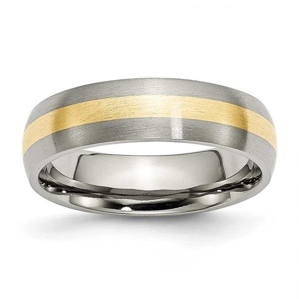 Chisel 14k Gold Inlaid Brushed Titanium Ring (6.0 mm)