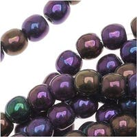 Czech Glass Druk Round Beads 4mm Purple Iris (100)