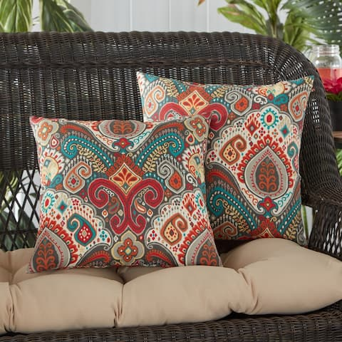 Greendale Home Fashions Global Outdoor Square Accent Pillow (Set of 2) - 17 W x 17 H