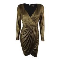 Thalia Sodi Women's Metallic Faux-Wrap Sheath Dress - deep black combo