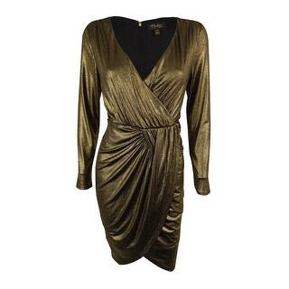 Thalia Sodi Women's Metallic Faux-Wrap Sheath Dress