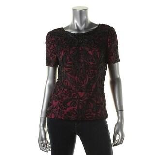 Alex Evenings Womens Mesh Embroidered Dress Top - XL