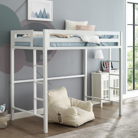 Taylor & Olive Browning White Metal Modern Twin Loft Bed