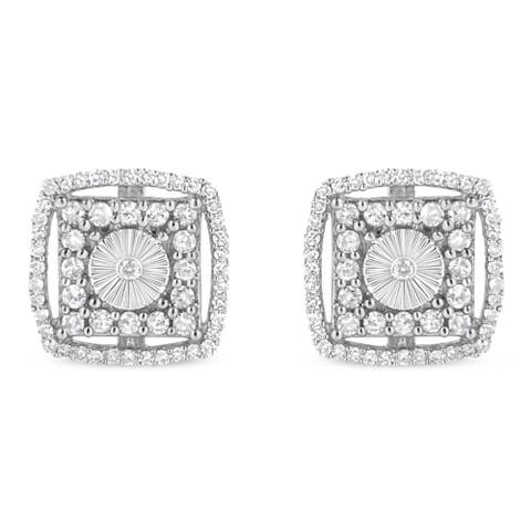 .925 Sterling Silver 1.0 Cttw Round Diamond Double Halo and Disc Stud Earring (I-J Color, I2-I3 Clarity)