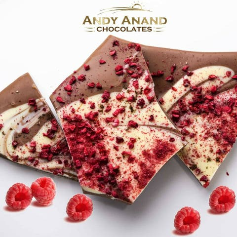 Andy Anand Raspberry Vanilla Chocolate Bark Box 1 lb