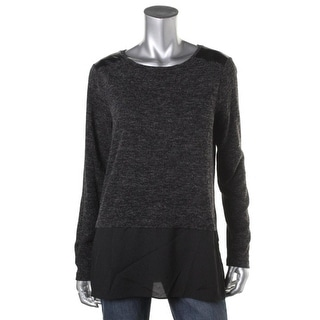 Calvin Klein Womens Faux Leather Trim Colorblock Pullover Sweater - XS