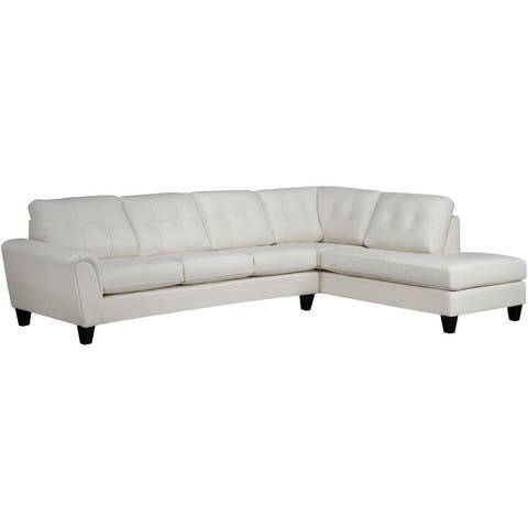 Tory Top Grain Leather Tufted Sectional Sofa Right and Left Facing