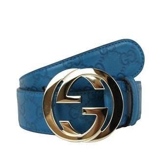Gucci Interlocking G Leather Buckle Guccissima Belt Teal (95/38) - 38 us / 95 eur